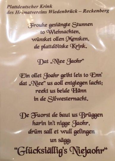 Plattdeutscher Krink Weihnachtsgruß 2015